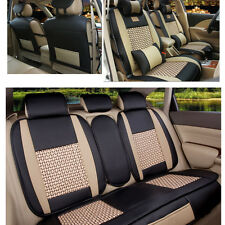 Car Seat Covers BLK/BGE Front+Rear Cushion Mesh+Leather w/ Pillows Easy Clean