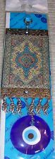"""Blue, Red & Gold 12"""" Long 3"""" Glass Turkish Evil Eye With Kilim Charm"""