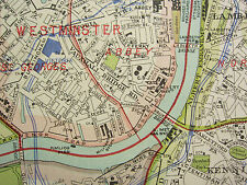 1920 CITY PLAN MAP LONDON SOUTH EAST ~ GREENWICH CAMBERWELL UNDERGROUN RAILWAYS