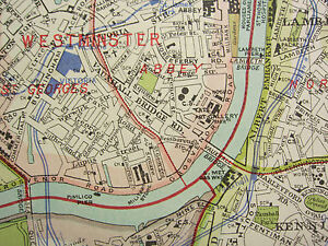 1920 CITY PLAN MAP LONDON SOUTH EAST ~ GREENWICH CAMBERWELL UNDERGROUN RAILWAYS