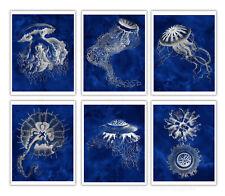 Jellyfish Art Print Cobalt Blue set of 6 Unframed Beach Art Coastal Decor
