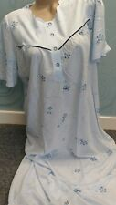 Waite's Short Sleeve floral Blue Nightdress size L Jersey Cotton Nightie