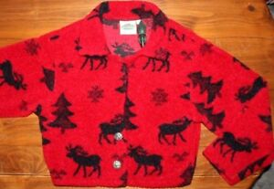 Women's   Plush  Fleece Moose  print  jacket   Medium