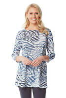 Roman Originals Womens 3/4 Sleeve Animal Print Tunic Top