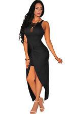 Abito aperto Nudo aderente arricciato spacco Knotted Slit Body Dress clubwear S