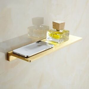 New Bathroom 12 inch Soild Brass Brushed Gold Single Shelf Shower Storage Rack