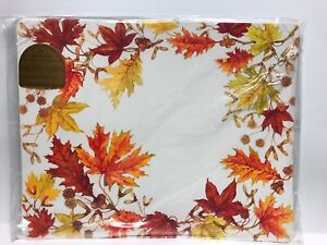 Vintage Hallmark 6 Placemats Thanksgiving Harvest Autumn Leaves