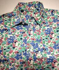 BODEN Men's Floral Print Size Medium Button Dress Shirt L/S Army Camo Colors