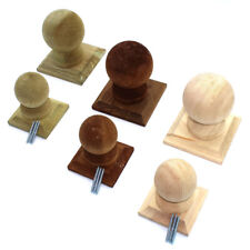 More details for wooden fence post balls + collar finials on base - treated + untreated ball