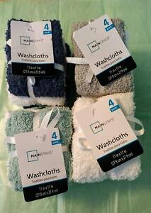 Mainstays 4 Pack Washcloths, 100% Cotton, 11 in x 11 in, Pick Your Color