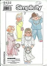 S 9432 sewing pattern Child PAJAMAS Doll PAJAMA BAG sew CUTE sizes ½,1,2,3 UNCUT