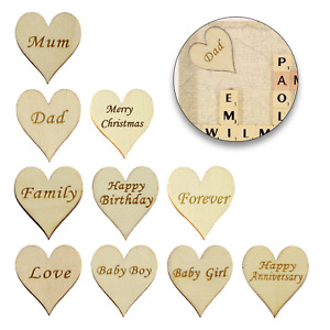 1-100 Wooden Christmas Embellishments Heart Shape Art & Crafts Cardmaking MDF