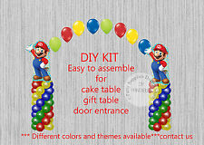 Super Mario Bros BALLOON ARCH with COLUMNS Birthday Party Decorations