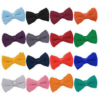 DQT Premium Knit Knitted Plain Casual Formal Adjustable Pre-Tied Boys' Bow Tie