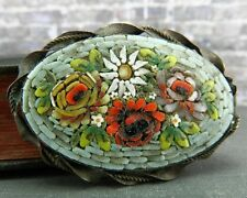 Antique Floral Micro Mosaic Pin/ Brooch
