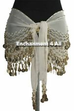 New Handmade Exotic Belly Dance Hip Scarf Wrap w Golden Beads & Coins, White
