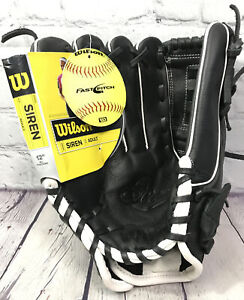 "Wilson Adult A500 Siren Fastpitch Softball Glove 12"" Left Hand Throw Black NWT"