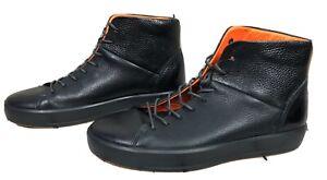 ECCO Men's Soft 6 High Top Fashion Sneaker Black Leather Size 12 EU44 Gray Black