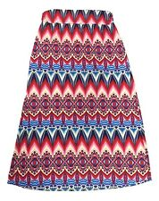 Jon and Anna Size Large Red Multi Geometric Tribal Print Long Maxi Skirt NEW