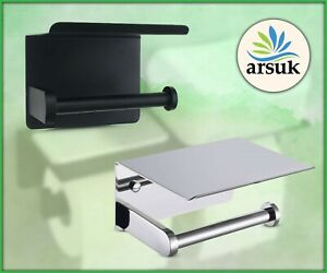 Toilet Roll Holder with Shelf Storage Self Adhesive and Screw Installation