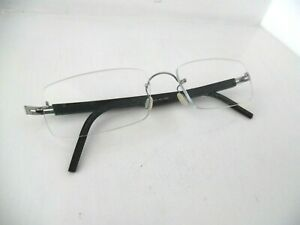 Lindberg Spirit Titanium Marbled Black/Silver Rimless Eye Glasses T503-145 KIII
