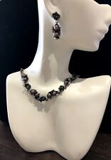 Victorian Gray Freshwater Pearl Necklace Earrings Set Flower Crystal