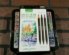 Crayola Signature Brush & Detail Dual-Tip Markers W/Tin Assorted Colors 16/Pkg