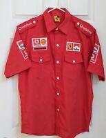 VTG 1996 Red FERRARI CREW Button Up SHIRT MARLBORO Shell Vodafone Bridgestone