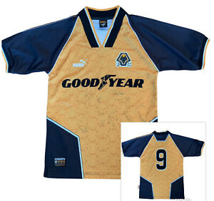 Wolves Puma SIGNED Shirt 1996-98 Number 9 BULL Small Wolverhampton Wanderers 96