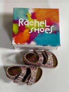Rachel Pink Multi Glitter Shoes 6M Girls Toddler Celia Lil Jill Footbed Sandals