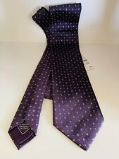 Authentic BRIONI Purple And Small Square Patter 100% Silk Tie Necktie Long Italy