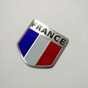 Aluminum alloy Emblem Badge Decal Car Fender Side Logo Sticker France Flag