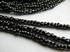 1 Strand 6/0 Czech Striped Seed Bead Black White app. 180 beads 4mm