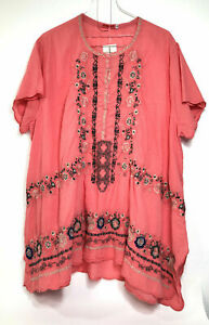 Johnny Was NWT Women's Passion Fruit KONES Embroidered Voile Tunic, Size 1X