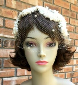 "Antique Dainty Ivory Ladies Hat Headband ""Silk"" Ivory Daisies Veil Velvet Dots"