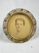 Antique Miniature Jeweled Brass Filigree Picture Frame - Amethyst Stones