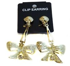 CLIP-ON EARRINGS DANGLE BOW GOLD OR SILVER TONE 1.5 INCH W 2.5 IN L LIGHTWEIGHT