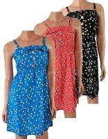 NEW FLORAL DAISY PRINT SUMMER BEACH SUN DRESS BLUE/CORAL/BLACK SIZE 6-20