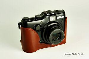 Handmade Vintage Genuine real Leather Half Camera Case bag cover for Nikon P7100