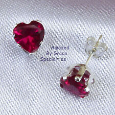6mm Sterling Silver 925 RUBY RED HEART Stud Post Earrings - Amazin'ly Gracious
