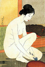 Woman at Bath 30x44 Japanese Print by Goyo Asian Art Japan Numbered Ltd. Edition