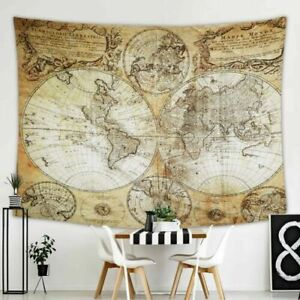 World Map Tapestry Wall Hanging for Wall Art Home Decor