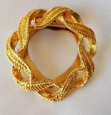 Scarf Ring Clip Holder ~ Leaf Wreath ~ Circle ~ Gold Tone