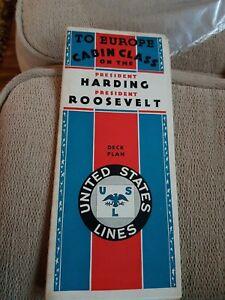 SS President Harding & Roosevelt, Original1920s? Deck Plan United States Lines,