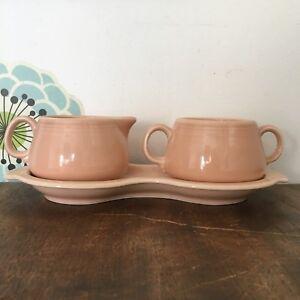 Vtg Fiesta Ware Apricot Cream & Sugar Tray Set, Creamer Sugar Bowl Retired Color