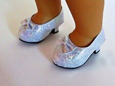 """Silver Glitter High Heels Fits 18"""" American Girl Doll Clothes Shoes"""