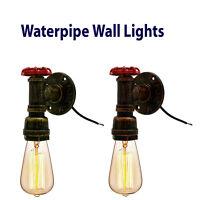 Vintage Industrial Rustic Steampunk Metal Water pipe Ceiling Wall Table Lights