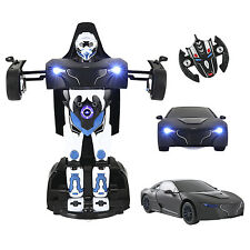 2.4G RC Toy Kids Radio Remote Control Car Transformer Rotatable Robot Black New