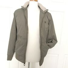 BILLABONG Jacket Mens S Army Green Puffy S Vegan Snowboarding Faux Shearling