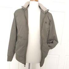BILLABONG Hooded Jacket Mens S Army Green Puffy S Vegan Snowboarding Shearling